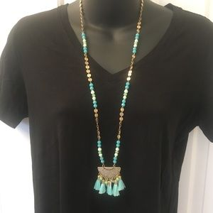 """19"""" Length Gold and Teal Stone Necklace"""